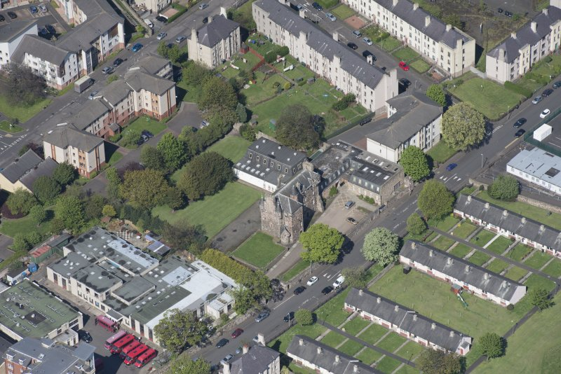 Oblique aerial view of Craigentinny House, looking N.