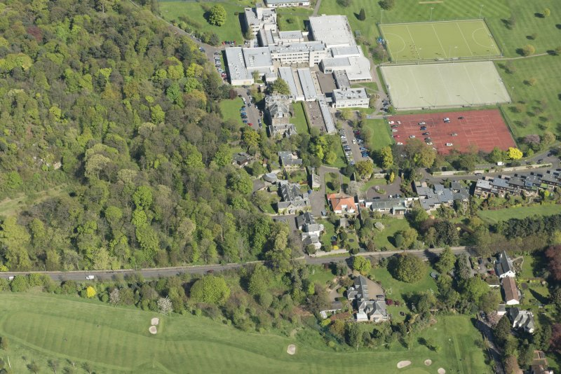 Oblique aerial view of Old Ravelston House, Ravelston House walled garden and the Mary Erskine School, looking ENE.