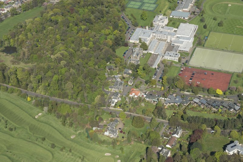 Oblique aerial view of Old Ravelston House, Ravelston House walled garden and the Mary Erskine School, looking NE.
