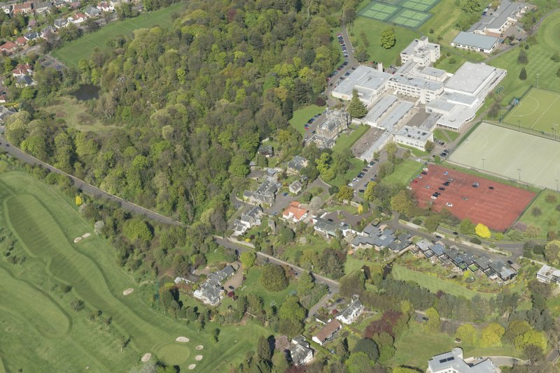 Oblique aerial view of Old Ravelston House, Ravelston House walled garden and the Mary Erskine School, looking NNE.