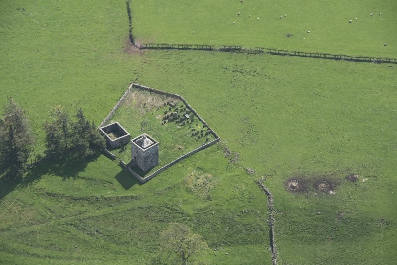 Oblique aerial view of Repentance Tower and Trail Trow Chapel, looking ESE.