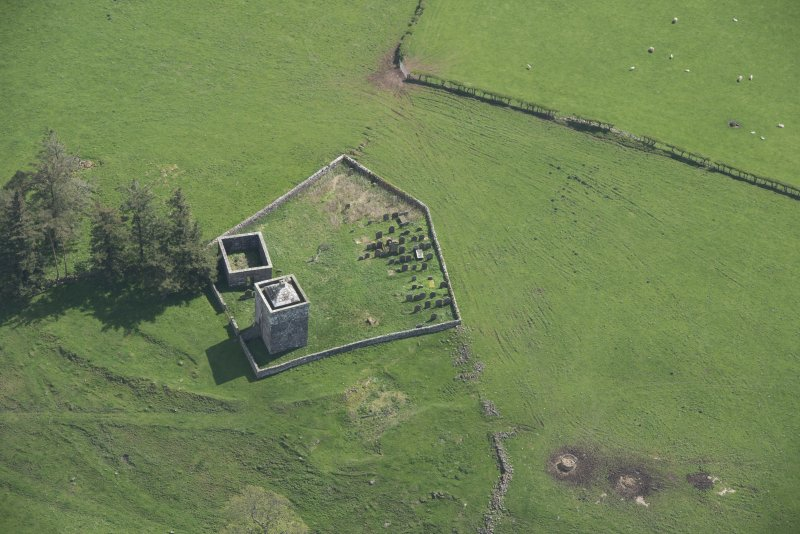 Oblique aerial view of Repentance Tower and Trail Trow Chapel, looking E.