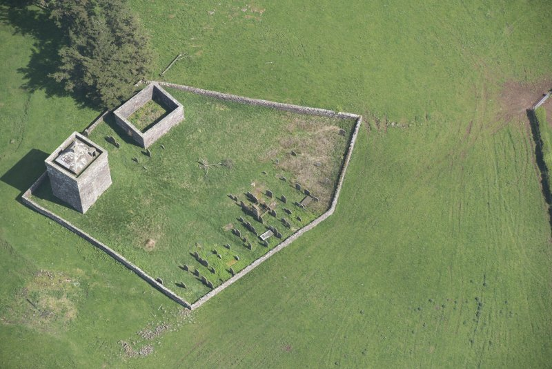 Oblique aerial view of Repentance Tower and Trail Trow Chapel, looking NE.