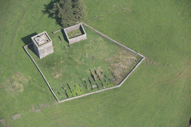 Oblique aerial view of Repentance Tower and Trail Trow Chapel, looking NNE.