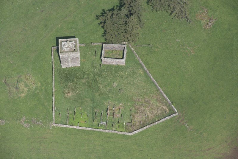 Oblique aerial view of Repentance Tower and Trail Trow Chapel, looking N.