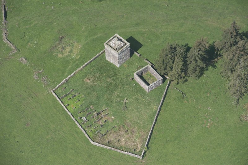 Oblique aerial view of Repentance Tower and Trail Trow Chapel, looking NW.