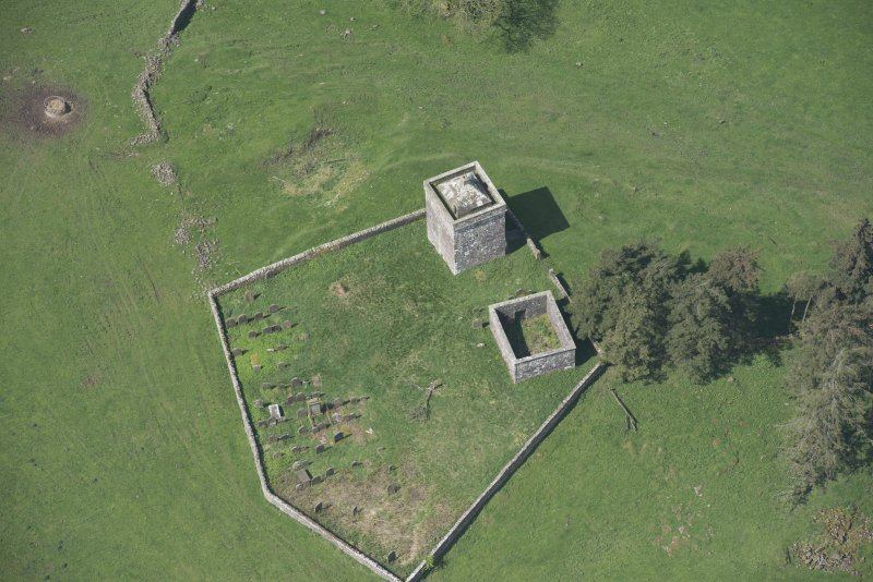 Oblique aerial view of Repentance Tower and Trail Trow Chapel, looking W.