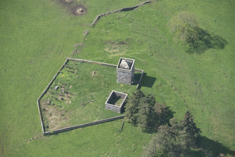 Oblique aerial view of Repentance Tower and Trail Trow Chapel, looking WSW.