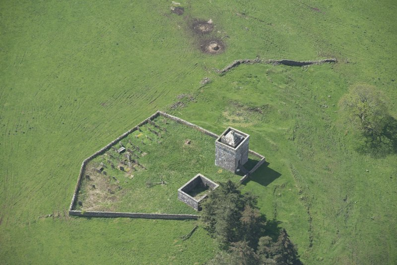 Oblique aerial view of Repentance Tower and Trail Trow Chapel, looking SSW.