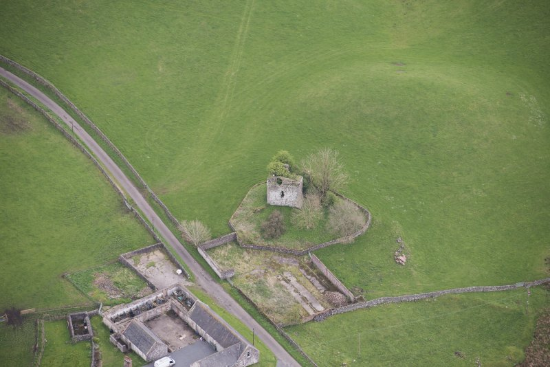 Oblique aerial view of Lag Tower, looking E.