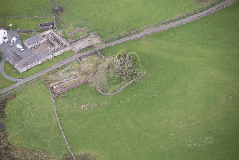 Oblique aerial view of Lag Tower, looking NW.
