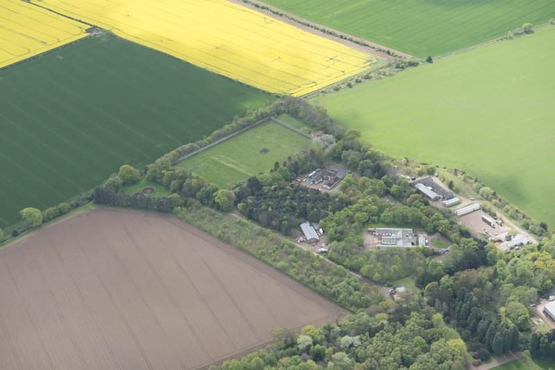 Oblique aerial view of East Fortune Airfield recreation area and Gilmerton House, looking SW.