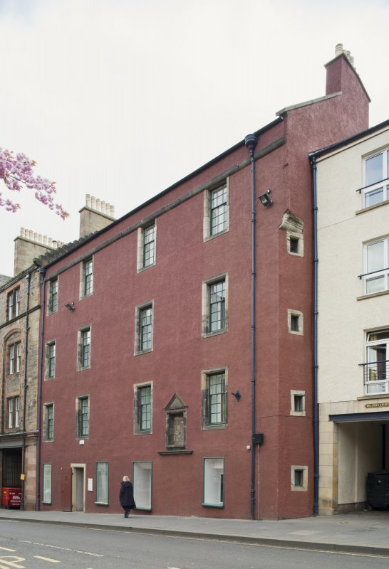 General view of front elevation of 124 Canongate, Edinburgh, from NW.