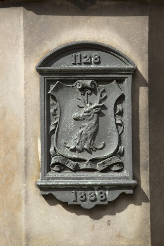 Detail of plaque at base of Burgh Cross, Canongate, Edinburgh.
