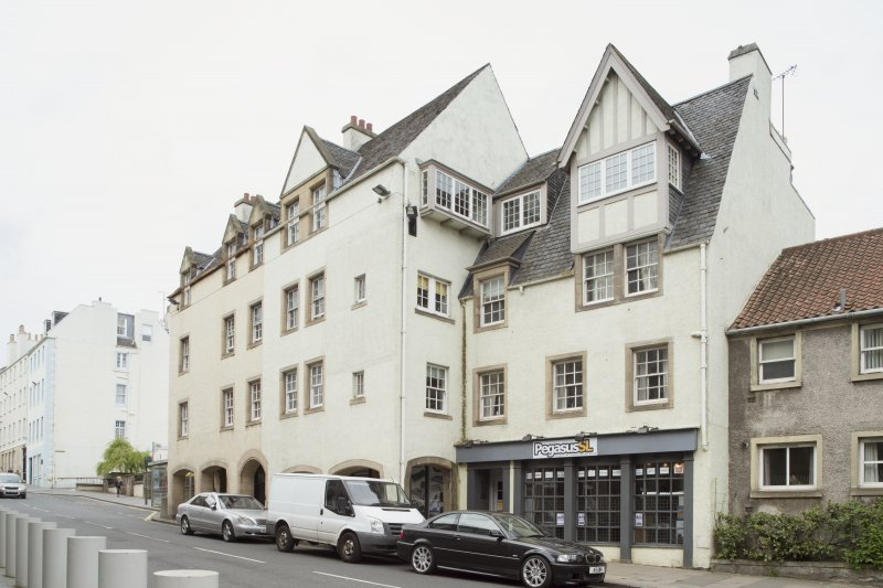 General view of front elevation of 1-12 White Horse Close, 29 Canongate, Edinburgh, from SE.