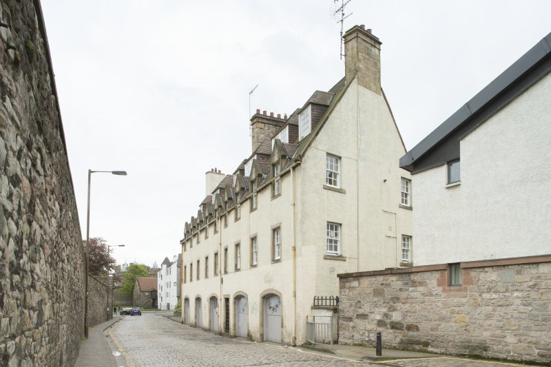 General view of rear elevation of 1-12 White Horse Close, 29 Canongate, Edinburgh, from NW.