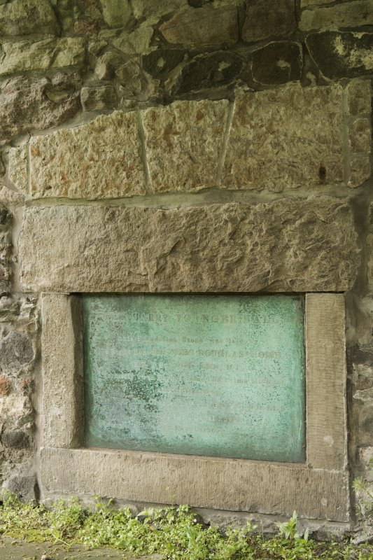 Detail of plaque and foundation stone at Harry Younger Hall, Lochend Close, Canongate, Edinburgh.