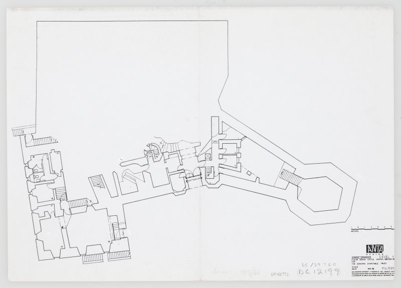 Eilean Donan Castle. Photocopy of survey drawings: plan level 1.