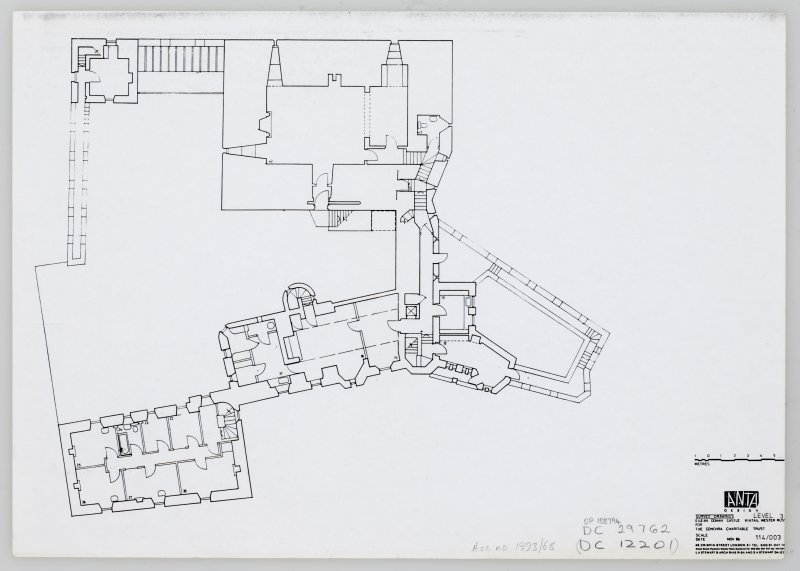Eilean Donan Castle. Photocopy of survey drawings: plan level 3.