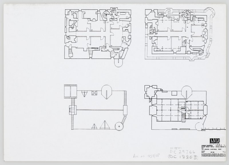 Eilean Donan Castle. Photocopy of survey drawings: plan level 5.