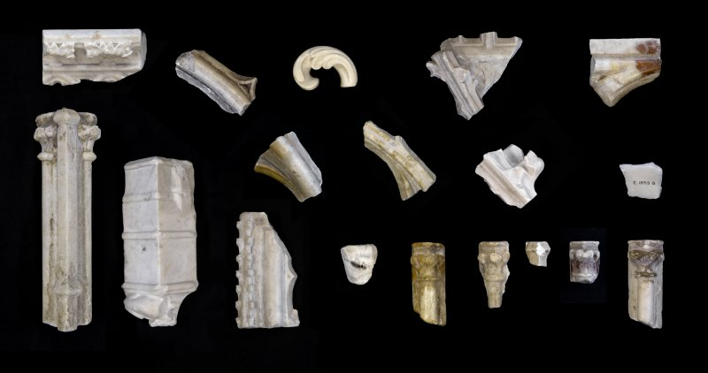 Composite image of marble fragments of the tomb of Robert I (Robert the Bruce), from the collections of the National Museums Scotland, The Hunterian, University of Glasgow, and Dunfermline Museum.