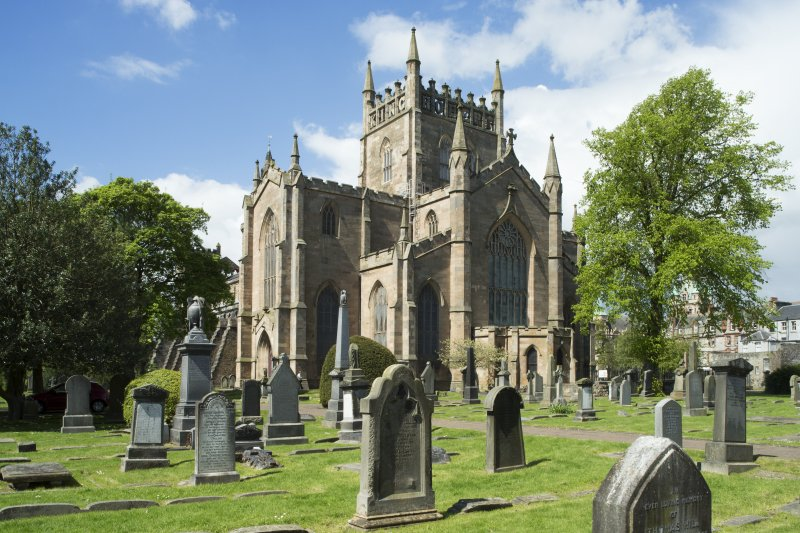 General view of Dunfermline Abbey, looking north west to the Parish Church.