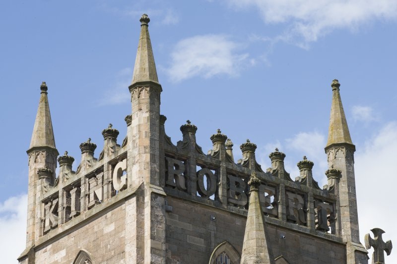 Detail of 'King Robert The Bruce' motif on the church tower.