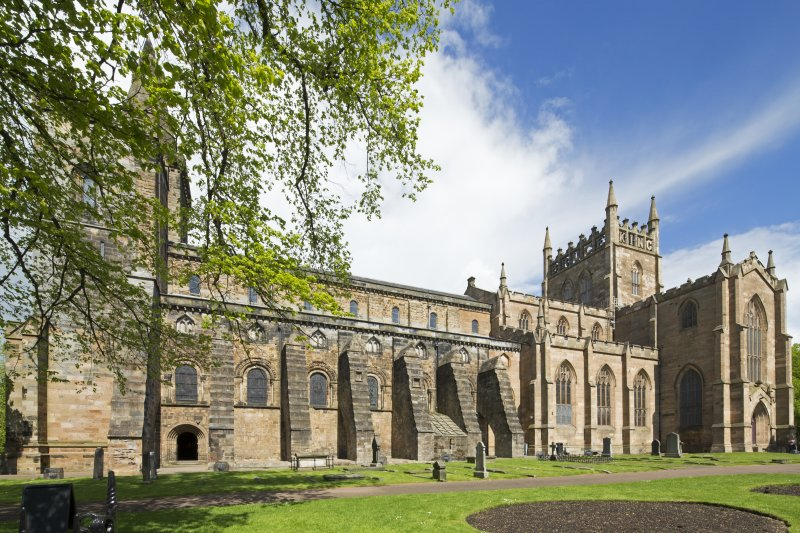 General view of Dunfermline Abbey, looking north east and showing the nave and parish church.