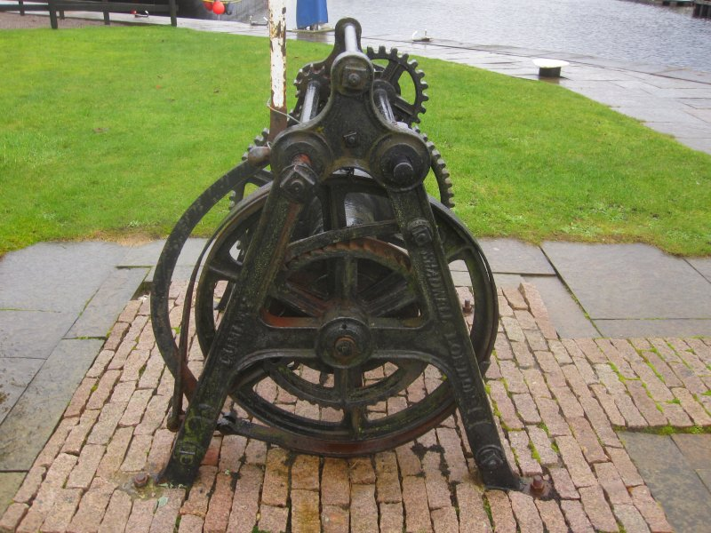 Crab winch end view showing embossed makers name Lumley Shadwell London looking west
