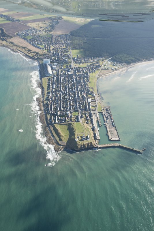 Oblique aerial view of Burghead, looking ESE.