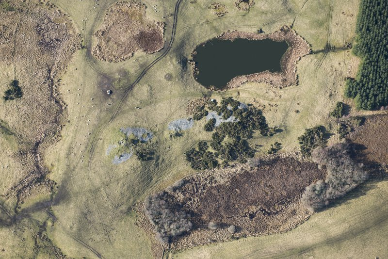 Oblique aerial view of the Carn Glas cairns, looking W.