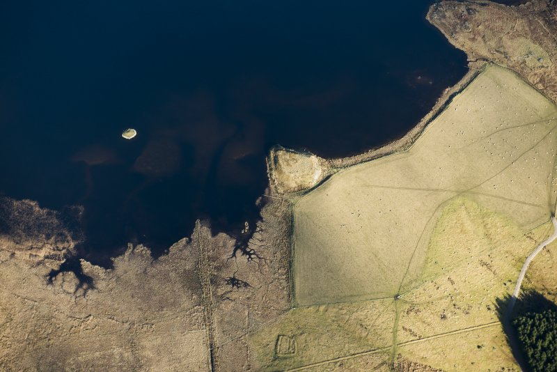 Oblique aerial view of Loch Ruthven crannogs and Tom Buidhe enclosure, looking NE.