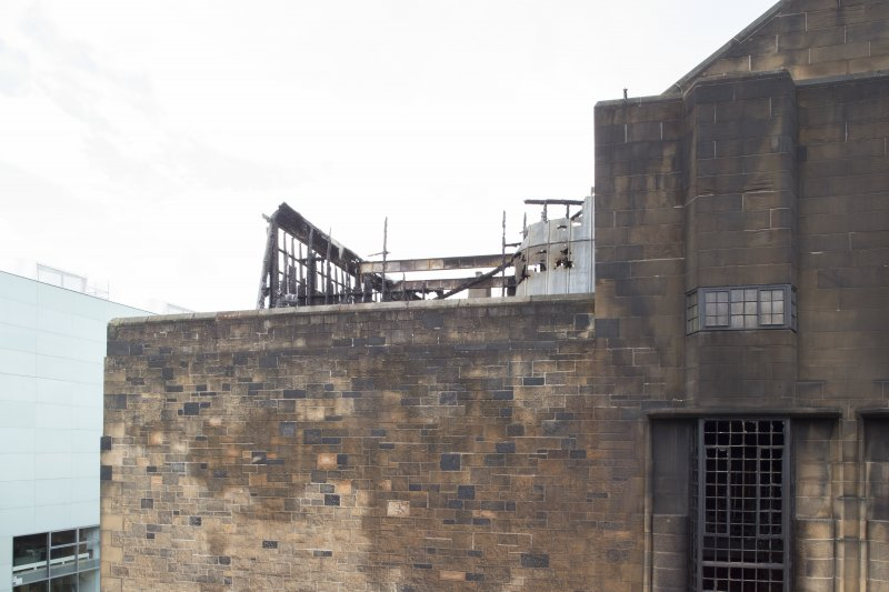 View from the roof of the Bourdon Building looking across to the fire damaged west wallhead and second floor studios of the Mackintosh building.