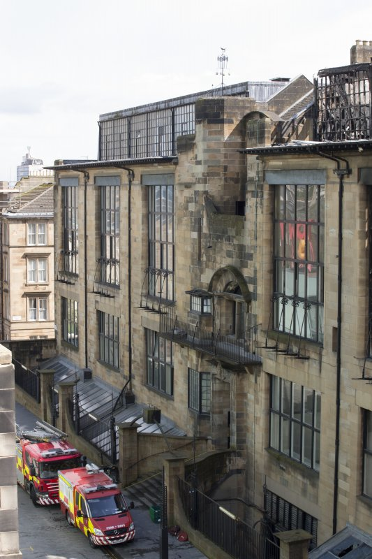View looking east to the east end of the Mackintosh building's north elevation, taken from the roof of the Bourdon building.