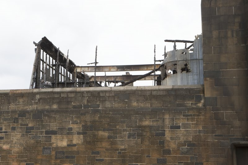 Detail view of the fire damaged west end of the second floor studios on the Mackintosh building.
