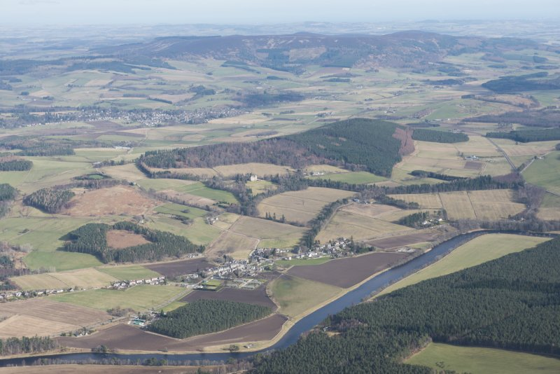 General oblique aerial view of Kincardine O'Neil with Torphins beyond, looking NE.