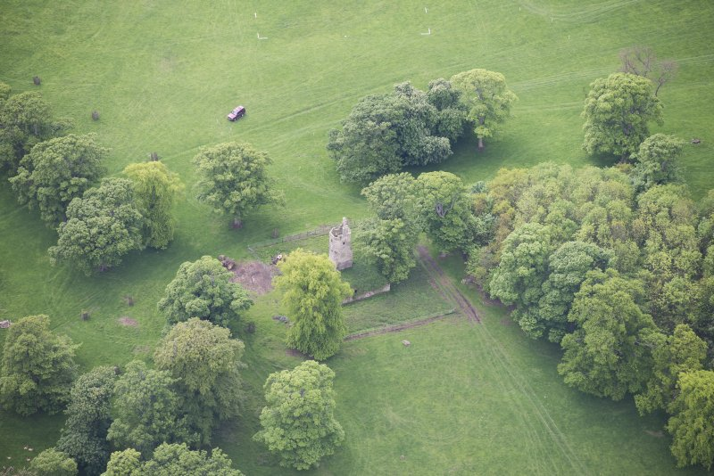 Oblique aerial view of Staneyhill Tower, looking SSW.