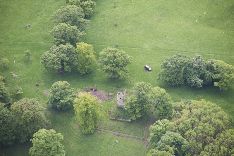 Oblique aerial view of Staneyhill Tower, looking SSE.
