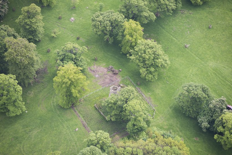 Oblique aerial view of Staneyhill Tower, looking SE.