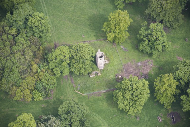 Oblique aerial view of Staneyhill Tower, looking N.