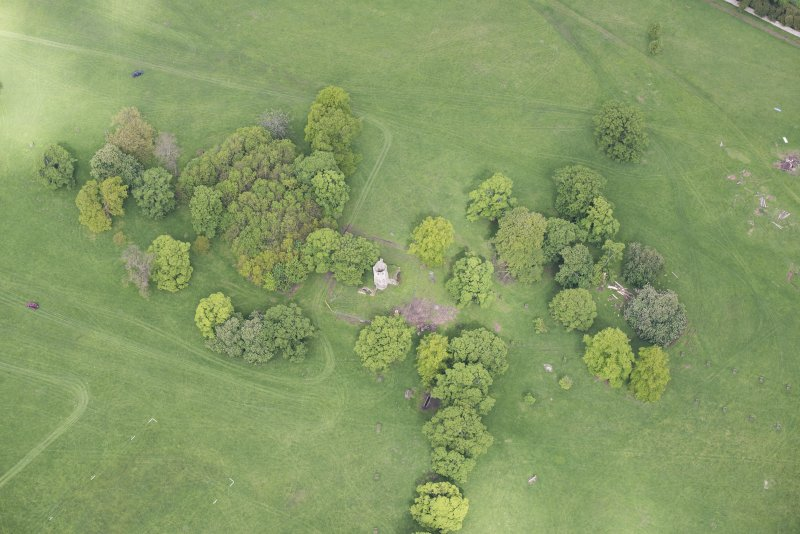 Oblique aerial view of Staneyhill Tower, looking NW.