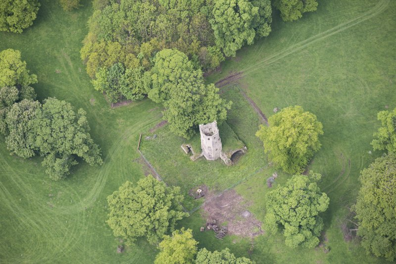 Oblique aerial view of Staneyhill Tower, looking WNW.
