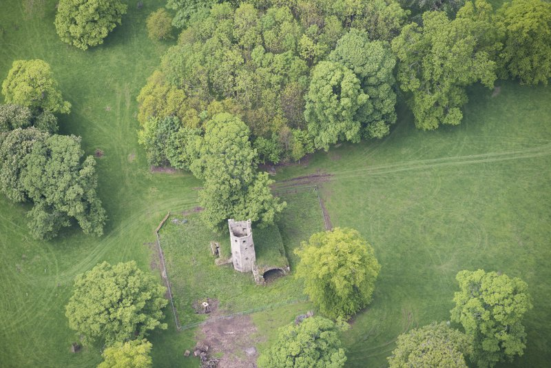 Oblique aerial view of Staneyhill Tower, looking W.