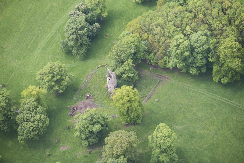 Oblique aerial view of Staneyhill Tower, looking WSW.