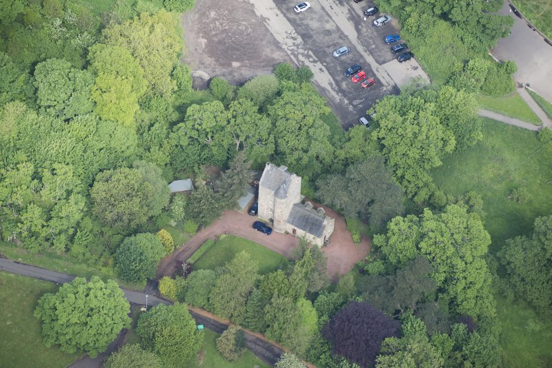 Oblique aerial view of Cramond Tower, looking NW.