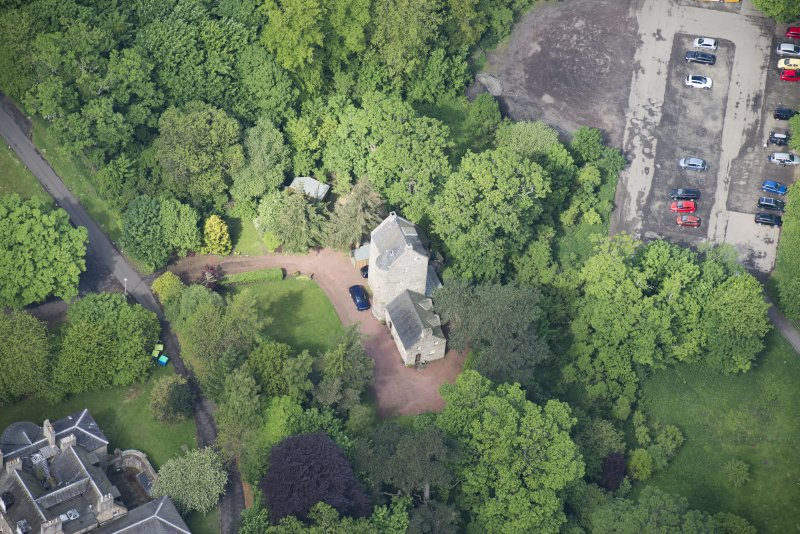 Oblique aerial view of Cramond Tower, looking WNW.