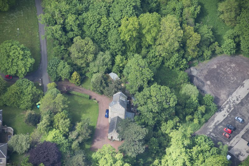 Oblique aerial view of Cramond Tower, looking W.