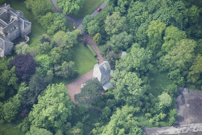 Oblique aerial view of Cramond Tower, looking SW.