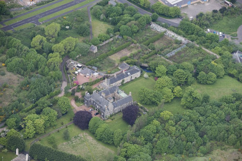 Oblique aerial view of Caroline Park House, looking WNW.