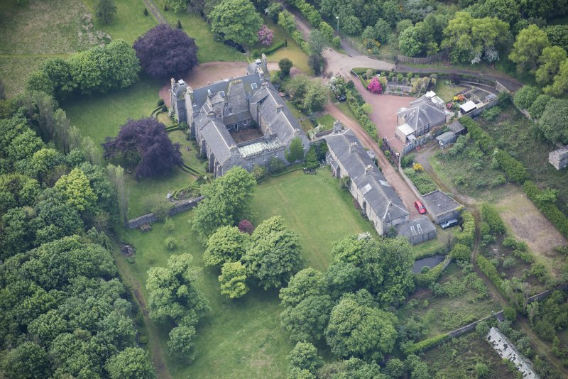 Oblique aerial view of Caroline Park House, looking SSW.